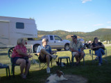 Me, Bill, Jim & Ida (the dogs and our trailer behind)