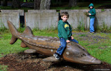 Jayden on Life-sized Model of a Sturgeon