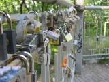 love locks on a pedestrian bridge high over a roadway in Misky Sad park