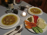 sour cucumber soup with chicken, smoked fish with cabbage and veggies