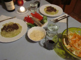 fettucini with black olive pesto, herring with cukes and peppers, cabbage salad