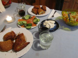 savory turnovers, salmon with cukes and olives, creamy feta, and salad