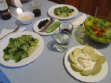 fettucini with broccoli, herring with olives and cukes, sald, pear and goat cheese