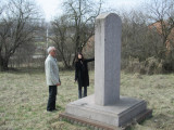 Marla with Alex D. at the cemetery memorial erected long after the war
