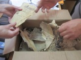 a box of Jewish papers