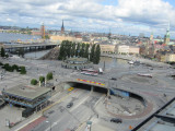 the Slussen lock and bridges connect Södermalm to Gamla Stan...