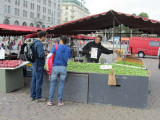 another market outside: fresh peas on sale!