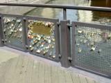 ...crossing a bridge with love locks