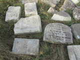 recent stones assembled in the cemetery...