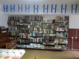 the library, with books on Jewish topics...