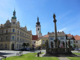 arriving at one of the old squares of downtown Pisek