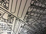 a wartime city map is on the ceiling; there's our apartment building