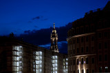 Turm der Hofkirche und Baustelle Verkehrsmuseum