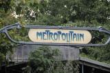 Art deco Metropolitan sign, at Ile de la Cite Metro stop, Paris