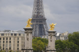 Eiffel Tower and sculptures on the Pont Alexander