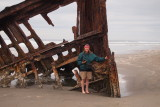 Tammy by the wreck of the Peter Iredale. Fort Stevens State Park near Astoria, OR