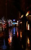 Quiet walk. Winter. Rainy night. LIttle Italy.