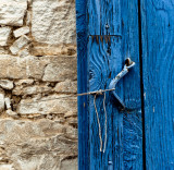 Blue door and string