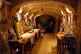 ...a cave-like dining room...