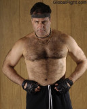 Hairy Cowboy Jim Daddy Bear Working Out Carolina Gym Workout Lifting Weights Bench Pressing