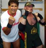 sgt dickson pro wrestlers posing wrestling show matches.jpg
