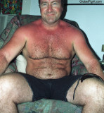 very hairylegs stocky heavyset man shirtless shorts.jpg