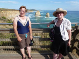 Marianne and Elaine at Twelve Apostles Visitor centre view