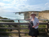 Elaine at Twelve Apostles Visitor centre view