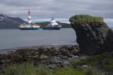 Aiviq tows the Kulluk in Captains Bay