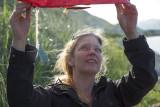 Jennifer Blair prepares to launch a lantern