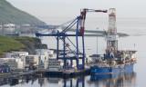 Noble Discoverer taking on cargo at the APL dock, Dutch Harbor