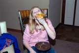 Birthday Girl and her pizza