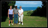 18th tee - Gill and Margaret with the master of the greens Stanley.