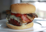 bacon cheese burger with mushrooms