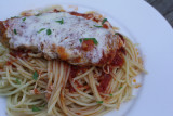 chicken parm with plum tomatoes from my garden
