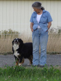 Frances and her blind Aussie Shepherd