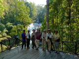 Tour group at waterfall