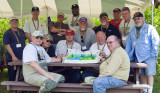 Vets  show off the cake