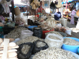 The small dried fish in the photo are a staple in the markets