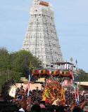 Lord Subramanyam [Murugan] has emerged from His Skanda Sashti Mandapam. Skanda Sashti at Tiruchendur.