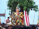 The demon Surapadman has reached Lord Subramanyam [Murugan]. Skanda Sashti at Tiruchendur.