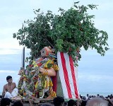 Lord Subramanyam [Murugan] defeats Surapadman and the demon is beheaded. Skanda Sashti at Tiruchendur.