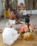 The shaman fights against black magic that troubles the life of this couple. Tirunelveli District, Tamil Nadu.