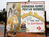 Priest Kwabena Adade Penya from Akomadan offers his services on a billboard.