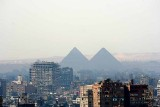 View from Cairo Citadel to Gizeh pyramids