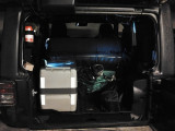 Waeceo fridge CF-40 in the back of a Jeep Wrangler 2 door 2012 with the backseat flipped