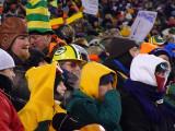 Fans brave the sub-zero temperatures at Lambeau Field.