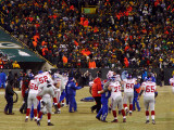 Giants players celebrate after the game winning field goal.