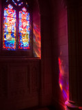 Lit by stained glass