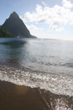 The Pitons from Soufriere Beach